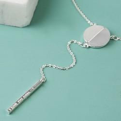 Personalised Labradorite Circle and Bar Y-Necklace in Silver
