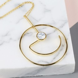 Long Geometric Pendant with Marble Disc Necklace in Gold