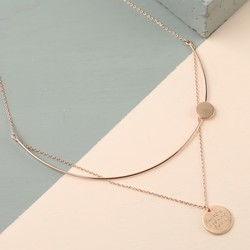 Personalised Double Disc with Curved Bar Necklace