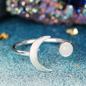 Silver Moon and Labradorite colour Resin Gem Open Ring In Silver