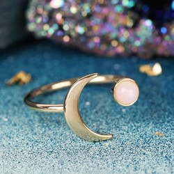 Open Moon and Rose Quartz Ring in Gold