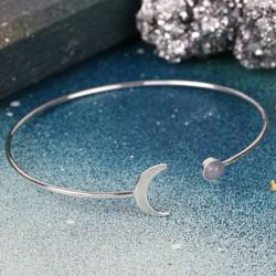 Open Moon and Labradorite Bangle in Silver