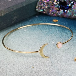 Open Moon and Rose Quartz Bangle in Gold
