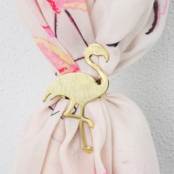 Brushed Gold Flamingo Scarf Ring