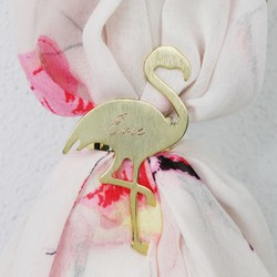 Personalised Brushed Gold Flamingo Scarf Ring