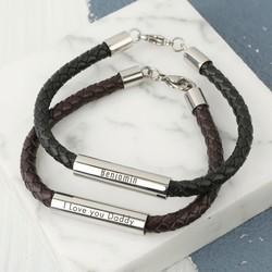 Personalised Men's Leather Tube Bracelet