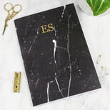 Personalised Black Marble A5 Notebook