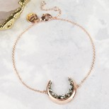 Crystal Crescent Moon Bracelet in Rose Gold