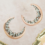 Crystal Crescent Moon Earrings in Rose Gold