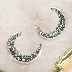 Crystal Crescent Moon Earrings in Silver