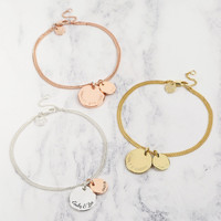Personalised Double Disc Charm Bracelet