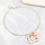 Personalised Geometric Charm Pendant Bracelet