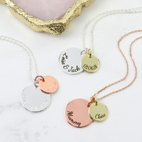 Personalised Double Disc Charm Necklace
