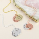 Personalised Mixed Metal Moon and Disc Necklace
