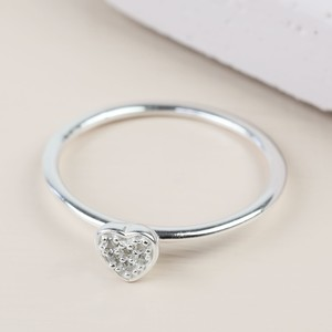 Sterling Silver Crystal Heart Ring - M/L