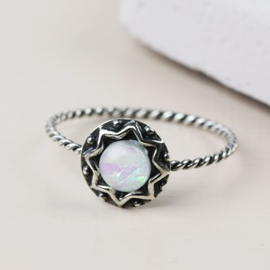 Vintage Sterling Silver Opal Ring  - S/M