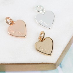 Personalised Hand-Stamped Small Heart Bracelet Charm