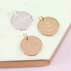 Personalised Hand-Stamped Disc Bracelet Charm