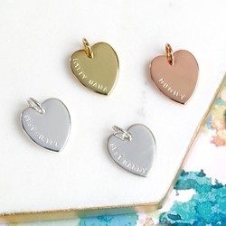 Personalised Hand-Stamped Heart Bracelet Charm