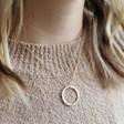 Lisa Angel Ladies' Gold Hand-Stamped Personalised Vermeil Family Hoop Necklace on Model