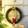 Lisa Angel Vintage Bristle Wreath and Bow With Reindeer