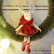 Lisa Angel Festive Vintage Bristle Wreath and Bow With Reindeer