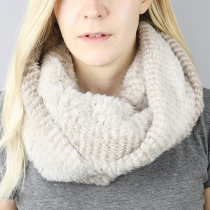 Faux Fur Double Wrap Snood in Striped Mink