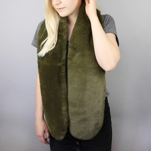 Faux Fur Stole in Khaki