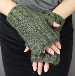 Acrylic Knit Handwarmers in Khaki