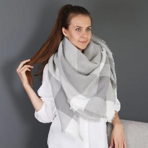 Grey Check Blanket Scarf